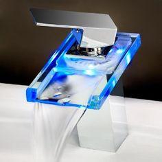 Temperature Sensitive Single Handle Centerset LED Lavatory Faucet, Chrome $23 down from $110...