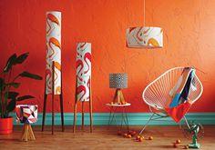 Retro Print Revival - lamp - flamingo prints