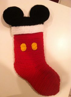 Mickey Mouse Christmas Stocking - Imgur Knitted Christmas Stockings, Crochet Christmas Ornaments, Christmas Crochet Patterns, Xmas Stockings, Holiday Crochet, Christmas Knitting, Crochet Blanket Patterns, Crochet Mickey Mouse, Crochet Disney