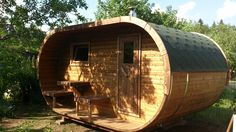 Outdoor sauna for a relaxing experience in the garden Outdoor Sauna, Outdoor Decor, Log Cabins For Sale, Barrel Sauna, Traditional Saunas, Outside Pool, Balcony Garden, Log Homes, Perfect Place