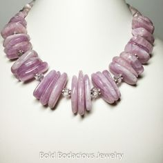Divine Love - You'll feel it for sure in this creation of rare Kunzite and clear lavender amethyst. One of a kind by www.BoldBodaciousJewelry.com