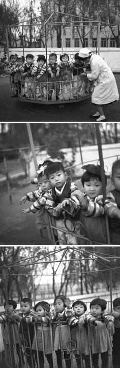 North Korea - Children on a kindergarten carousel, Pyongyang. Nov 1,1971. By Klaus Morgenstern, Gesperrt für Bildfunk ©ddrbildarchiv.de/dpa/Corbis