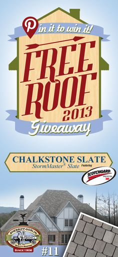Re-pin this gorgeous StormMaster Slate Chalkstone Shingle for your chance to win in the Sherriff-Goslin Pin It To Win It FREE ROOF Giveaway. Available in Sherriff-Goslin service area only. Re-pin weekly for more chances to win! | Stay Updated! Click the following link to receive contest updates. http://www.sherriffgoslin.com/repin Learn More about this shingle here: http://www.sherriffgoslin.com/tabbed.php?section_url=172