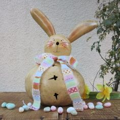 Easter Gourd Bunny Rabbit Natural Carved by pinchmeboutique