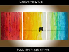 Birds art Original  Large oil painting Rainbow Love by QiQiGallery, $345.00