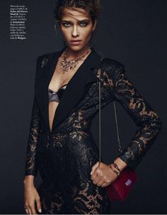 With other clothes underneath, love this long lace jacket. Ana Beatriz Barros Dazzles, Snapped By Xavi Gordo For Elle Spain January 2015 -