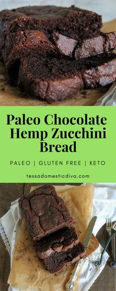 close up and overhead of sliced chocolate hemp zucchini bread Paleo Zucchini Bread, Chocolate Zucchini Bread, Paleo Bread, Paleo Baking, Paleo Chocolate, Gluten Free Baking, Paleo Diet, Chocolate Recipes, Eating Paleo