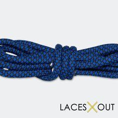 "Blue x Black ""Rope"" Laces - Woven Pattern Shoelaces - 50"""