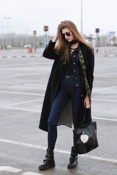 lace up blouse with jeans and kimono