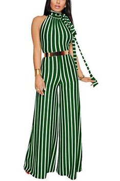 b37fadf8e5c1 Luz Stripe High Neck Flared Wide Leg Jumpsuit with Gold Belt - Green