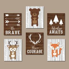 WOODLAND Nursery Wall Art Quote Artwork Be Brave by TRMdesign