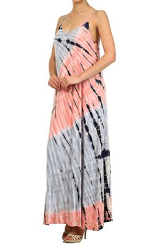 Tie dye, V-neck, full length, maxi dress with spaghetti straps and low back.