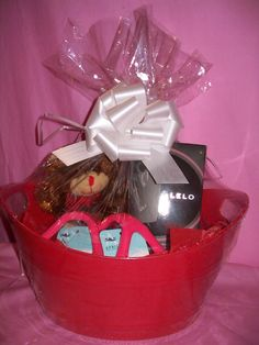 $42: Lelo Flickering Touch Massage Oil Candle Gift Basket in Black Pepper and Promegranate: Fresh, fruity & a bit racy; enjoy the green scent of pomegranate underscored by an aromatic base note of black pepper. Ingredients: Soy wax, shea butter, apricot kernel oil, perfume (d-limonene, linalool, hexylcinnamaldehyde). Lightly scented wax melts into an exquisite & luxurious massage oil, specially designed to nourish & moisturize, while the fragrance excites your senses. 36 hours of burn time.