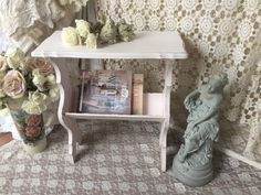 Shabby Pink Magazine Rack Table,Vintage Side Table,Book Rack,Stand,Chippy  distressed painted table,Vintage end stand