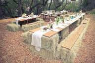 Big summer event coming up and no tables or seating? Try hay-bale tables and chairs - for summer parties, 4th of July, weddings, family reunions, whenever there's a crowd - wonderful idea!! - ..and lots of other hay-bale uses suggested here.