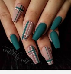 Best Acrylic Nails, Summer Acrylic Nails, Matte Nail Art, Summer Nails, Nail Swag, Fall Nail Designs, Acrylic Nail Designs, Plaid Nail Designs, Nails Design Autumn