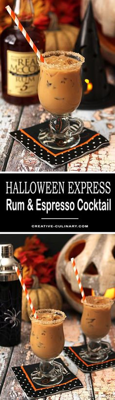 Combine Rum and Espresso with some Maple Syrup and youll be off and running with The Halloween Express! via Creative Culinary Fun Cocktails, Cocktail Drinks, Fun Drinks, Yummy Drinks, Alcoholic Drinks, Beverages, Kahlua And Cream, Halloween Drinks, Halloween Coctails