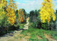 1912 AUTUMN ROAD, Stanislav Yulianovich  Zhukovsky (Russian 1875~1944) | Russian Impressionism; in 1923 moved to Poland; in WWII was arrested by the Nazis and held at the prisoner transit camp (Durchgangslager) at Pruszków where he died in 1944...