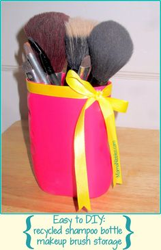 Recycle those old shampoo bottles into something useful and cute!  Check out this simple DIY makeup brush holder.