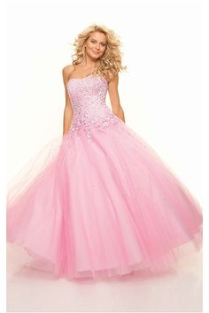 Classical Strapless Floor-length Ball Gown Organza Quinceanera Dresses