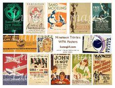 RETRO POSTERS digital collage sheet DOWNLOAD vintage by Lunagirl