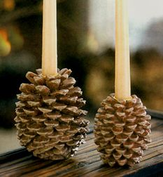 Pine Cone Taper Candle Holders from Candlebay are great for Christmas centerpieces