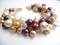 Pearl Cluster Bracelet Ivory Gold and Plum Bridesmaid by KIMMSMITH