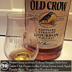 Modern Old Crow is a great example of how a once great brand is now used to market and move pallets of cheap bourbon. It really isn't a good representation of what bourbon can be, but I suppose it serves a purpose. Don't get me wrong, I'm always grateful for the opportunity to try any bourbon, but I can't hide my disappointment for how it tastes. To me this is now the brand a college kid would use to make some type of hunch punch or what an ancient alcoholic might use as a means to an end.