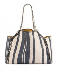 STELLA MCCARTNEY FALABELLA STRIPED CANVAS SMALL TOTE BAG.  stellamccartney   bags  shoulder bags ab30324ca5a2d