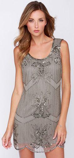 Grey Beaded Party Dress