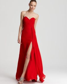 Faviana Strapless Gown - High Slit