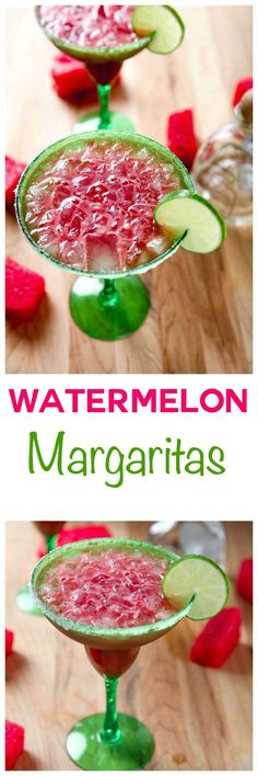 Watermelon Margaritas Super easy sweet and refreshing watermelon margaritas. Only 5 ingredients and 10 minutes stand between you and a whole pitcher of these!