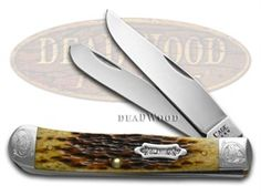 CASE XX Engraved 125th Ann. Jigged Antique Bone Trapper 1/500 Stainless Pocket Knife Knives