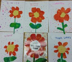 "Kidscanlearnschool: My students loved to create the flowers like Eric Carle's' book ""The Tiny seed"""