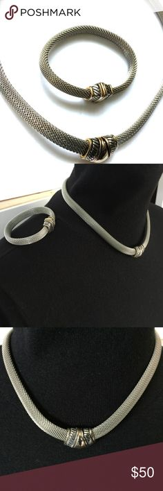 """Vintage Silver Tone Mesh Necklace And Bracelet Silver tone mesh necklace and bracelet. Both have decorative silver and gold magnetic clasp.  Necklace 18"""" long, bracelet 7.5"""" long. Very chic and in excellent vintage condition. Vintage Jewelry Necklaces"""