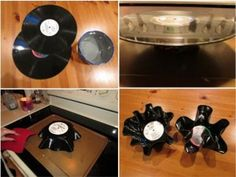 Reusing old vinyl records made popcorn bowls very cute!