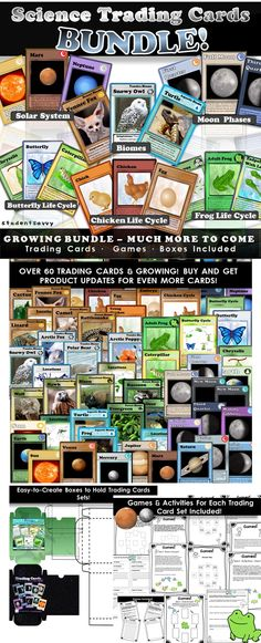 Science Trading Card BUNDLE! Includes Moon phases, life cycles, adaptations, biomes, and solar system!