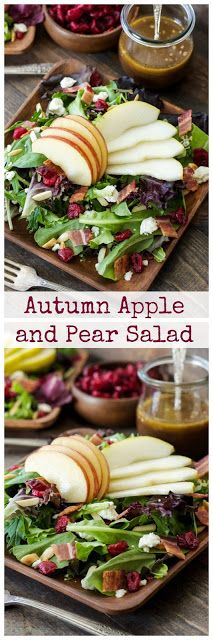 a salad with apple and pear slices    from reciperunner