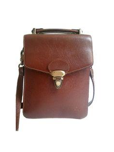 french vintage MESSENGER BAG / leather/ cross by lesclodettes, $49.00