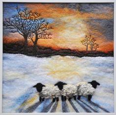 Felt art by Sue Lewis Felt Fabric, Fabric Art, Felt Wall Hanging, Sheep Art, Felt Pictures, Needle Felting Tutorials, Wool Art, Landscape Quilts, Thread Painting