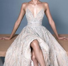 natural off white tone low cut strappy evening gown beaded dream dress elegant Gowns Elegant Dresses For Women, Stunning Dresses, Pretty Dresses, White Evening Gowns, Evening Dresses, Formal Dresses, Cream Prom Dresses, Debut Gowns, Dream Dress