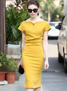 Chic Slash Neck High Waist Yellow Mermaid Dress