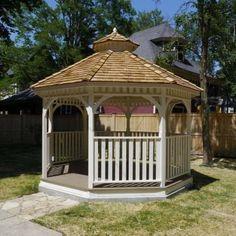 Bayside Octagon Panelized - The Home Depot Hot Tub Gazebo, Patio Gazebo, Backyard Patio, Backyard Ideas, Small Bar Areas, Large Gazebo, Cedar Posts, Cedar Garden, Wood Patio