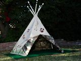 My grandparents made my cousin a life size teepee in their backyard when we were little.  Then they would sit around as she put on little shows for them.  I so need to make one of these in our backyard of my niece and nephews!