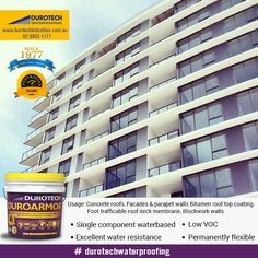 #Duroarmor, a non hazardous waterproof membrane has been specially formulated for long term façade #waterproofing and #architectural #decorativecoating. This #product is completely water based, UV stable and protects against water and salt chlorides.#waterproofingproducts #construction #roofing #Australia Sydney #Canberra #Architecture