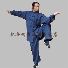 Navy Blue Silk and Linen Wudang Tai Chi Uniform with Cuffs for Men and Women via Asia-Sale Best Tai Chi, Kung Fu Clothing