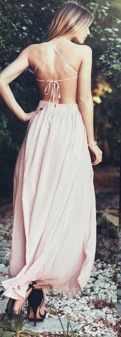 Hot-Sexy Halter Open Back Pink Long Chiffon Prom Dress,MB 146 - Thumbnail 1
