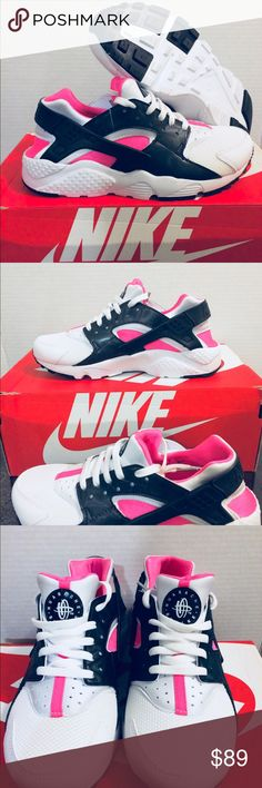 New Nike Huarache White Pink Black Girls 🎉New Huarache 🎉  Size 5Y  Very great looking athletic shoes with amazing comfort. Don't end up paying those high prices when you can get them for an affordable price.  🚫No refunds 🚫No low ballers 💯Authentic   NMD, AVD, EQT, Mastermind, Primeknit, original, all stars, Bape, Ultraboost, tubular, Zx flux, adidas women, adidas running shoes, women's running shoes, women running track basketball soccer. Girly shoes NMD adidas, Jordan 1, Jordan 2…