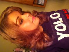 Pink blonde hair with lavender tips
