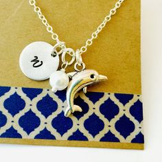 Dolphin Necklace, Dolphin Charm, Dolphin Initial Necklace, Charm Necklace, Ocean Animals, Dolphin Gift, Personalized Name Necklace